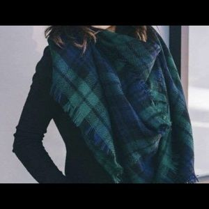 Green, navy, and black plaid blanket scarf